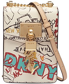 Elissa Graffiti Logo Pebble Leather Charm Crossbody, Created for Macy's