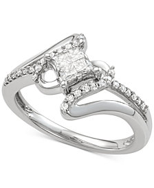 Diamond Swirl Engagement Ring (1/2 ct. t.w.) in 14k White Gold
