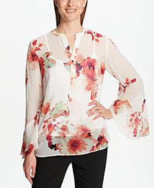 Calvin Klein Floral-Print Chiffon Blouse