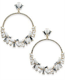 I.N.C. Silver-Tone Stone Crystal & Pavé Drop Hoop Earrings, Created for Macy's