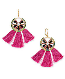 I.N.C. Gold-Tone Multi-Pavé & Stone Watermelon Tassel Drop Earrings, Created for Macy's