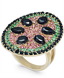 I.N.C. Gold-Tone Stone & Crystal Pavé Watermelon Statement Ring, Created for Macy's