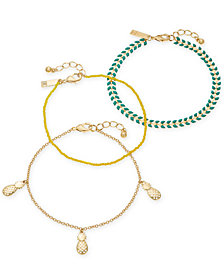 I.N.C. Gold-Tone 3-Pc. Set Stone, Bead & Pineapple Ankle Bracelets, Created for Macy's