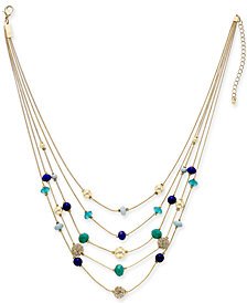 "I.N.C. Gold-Tone Pavé & Bead Multi-Layer Necklace, 18"" + 3"" extender, Created for Macy's"