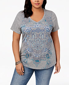 Style & Co Plus Size V-Neck Graphic Top, Created for Macy's
