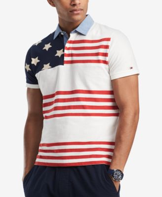 Tommy Hilfiger Mens Big and Tall Long Sleeve Polo Shirt with Rugby Flag
