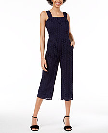 Maison Jules Eyelet Jumpsuit, Created for Macy's