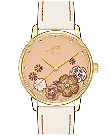 COACH Women's Grand White Leather Strap Watch 36mm