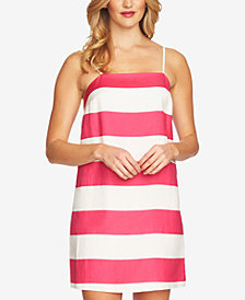 CeCe Striped Spaghetti-Strap Dress