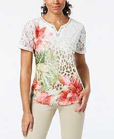 Alfred Dunner Petite Embellished Lace Top
