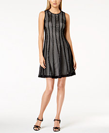 Calvin Klein Mesh Fit & Flare Dress