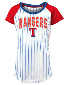 5th & Ocean Texas Rangers Sequin Pinstripe T-Shirt, Girls (4-16)