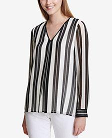 Calvin Klein Striped V-Neck Top