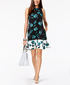 Alfani Petite Flounce Hem Fit & Flare Dress, Created for Macy's