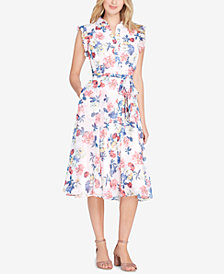 Tahari ASL Belted Floral-Print Shirtdress