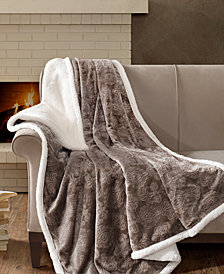 "Madison Park Elma Oversized Reversible 60"" x 70"" Embossed Plush to Berber Throw"