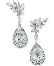 Danori Silver-Tone Crystal Flower Drop Earrings, Created for Macy's