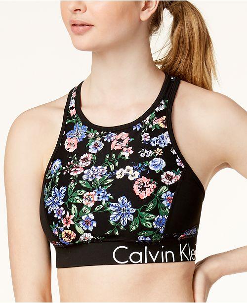 9f3b1f94b11 ... Calvin Klein Botanica Printed Keyhole Racerback Medium-Support Sports  Bra ...