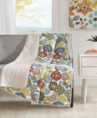 """Tamil 60"""" x 70"""" Quilted Paisley Medallion-Print Throw"""