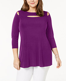 Alfani Plus Size Cutout Tunic, Created for Macy's