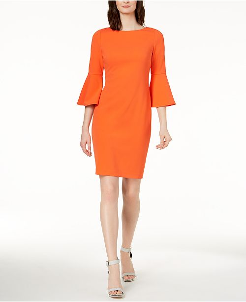512116b8aeee7 Calvin Klein Bell-Sleeve Sheath Dress   Reviews - Dresses - Women ...