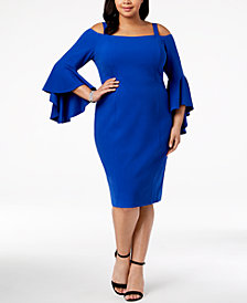 R & M Richards Plus Size Off-The-Shoulder Flared-Sleeve Dress