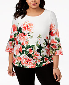 Calvin Klein Plus Size Floral-Print Bell-Sleeve Top