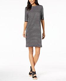 Eileen Fisher Organic Linen Striped Dress, Regular and Petite