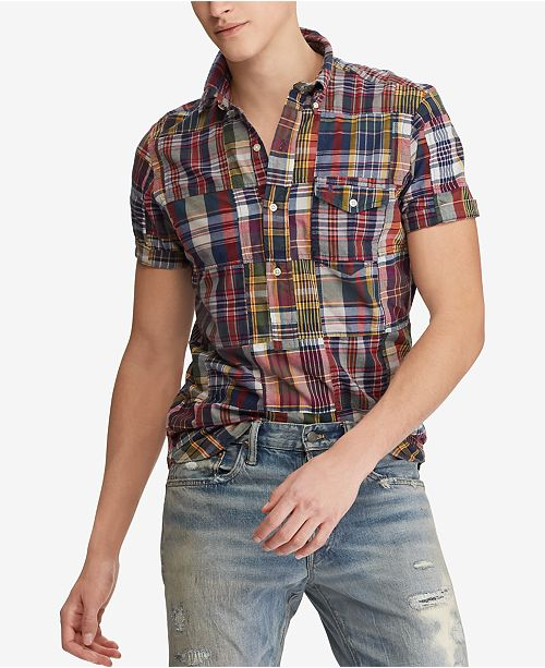 ca46fe9571 Polo Ralph Lauren Men s Classic Fit Madras Patchwork Shirt   Reviews ...
