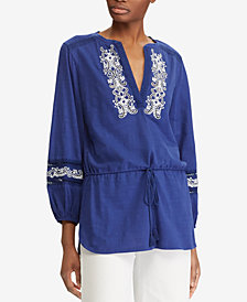 Lauren Ralph Lauren Petite Embroidered Cotton Top