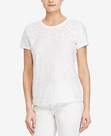 Lauren Ralph Lauren Petite Embroidered Cotton Top