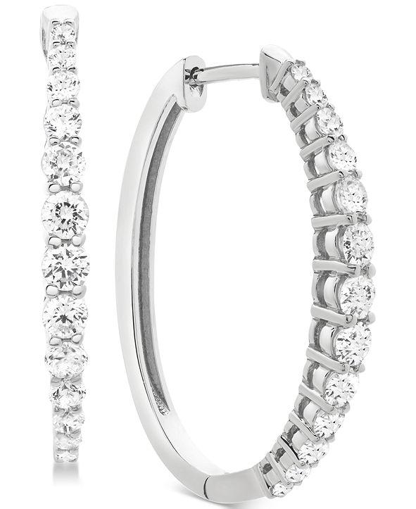 Macy's Diamond Hoop Earrings (1 ct. t.w.) in 14k Gold