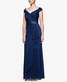 Alex Evenings Ruched Draped Brooch Gown