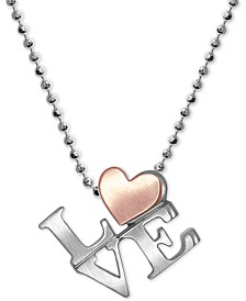"Alex Woo Love 16"" Pendant Necklace in Sterling Silver & 18k Rose Gold"
