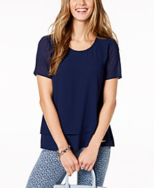 MICHAEL Michael Kors Layered-Hem Top In Regular & Petite Sizes