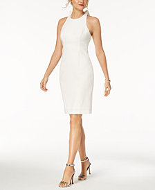 Vince Camuto Ruffle-Back Halter Sheath Dress