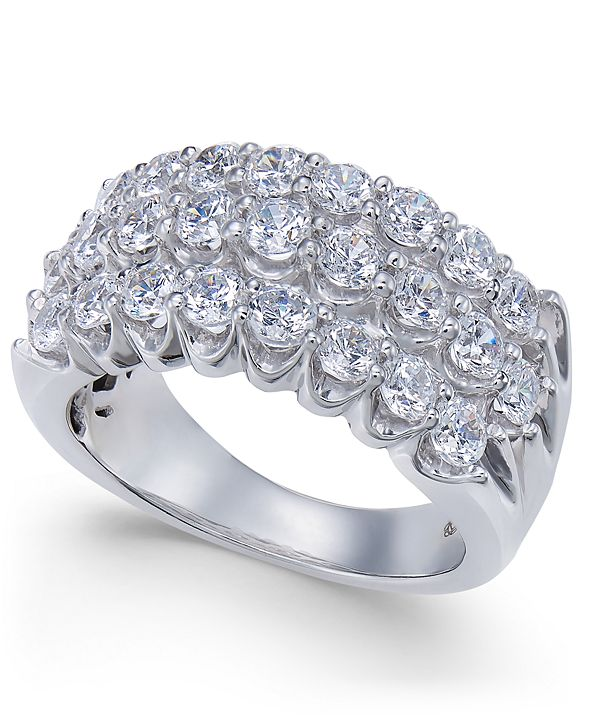Macy's Diamond Three-Row Band (2 ct. t.w.) in 14k White Gold