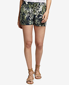 Sanctuary Printed Eyelet-Detail Linen Shorts