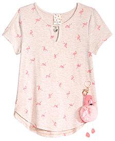 Self Esteem Big Girls 2-Pc. Flamingo-Print T-Shirt & Keychain Set