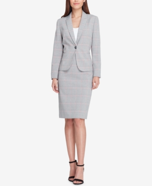 Tahari Asl PLAID ONE-BUTTON SKIRT SUIT