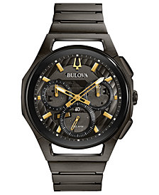 Bulova Men's Chronograph Curv Gray Stainless Steel Bracelet Watch 44mm