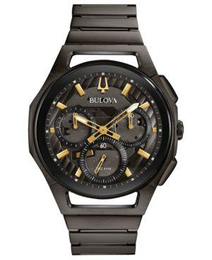 BULOVA Men'S Chronograph Curv Gray Stainless Steel Bracelet Watch 44Mm in Black