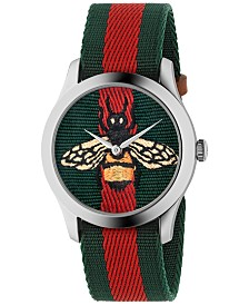 Gucci Unisex Swiss Le Marché des Merveilles Green-Red-Green Web Nylon Strap Watch 38mm