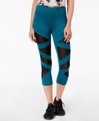 Jessica Simpson The Warm Up Juniors Mesh-Inset Yoga Leggings