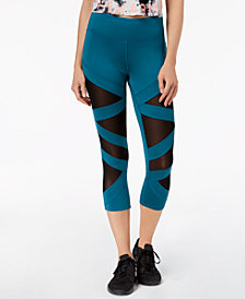 Jessica Simpson The Warm Up Juniors' Mesh-Inset Cropped Leggings