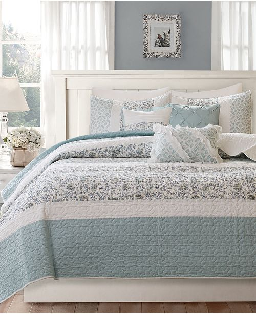 Madison Park Dawn 6 Pc Quilted Fullqueen Coverlet Set Bed In A