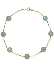 Dyed Jade  (6mm) Station Link Bracelet in 10k Gold