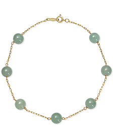 Dyed Jadeite (6mm) Station Link Bracelet in 10k Gold