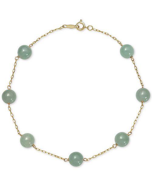 Macy's Dyed Jade  (6mm) Station Link Bracelet in 10k Gold