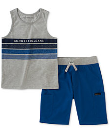 Calvin Klein Baby Boys 2-Pc. Graphic-Print Tank Top & Shorts Set